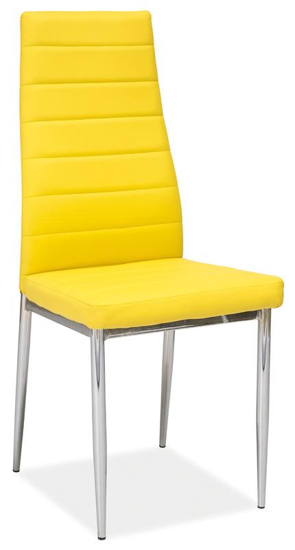 Jedálenská stolička VERME, žltá/chróm