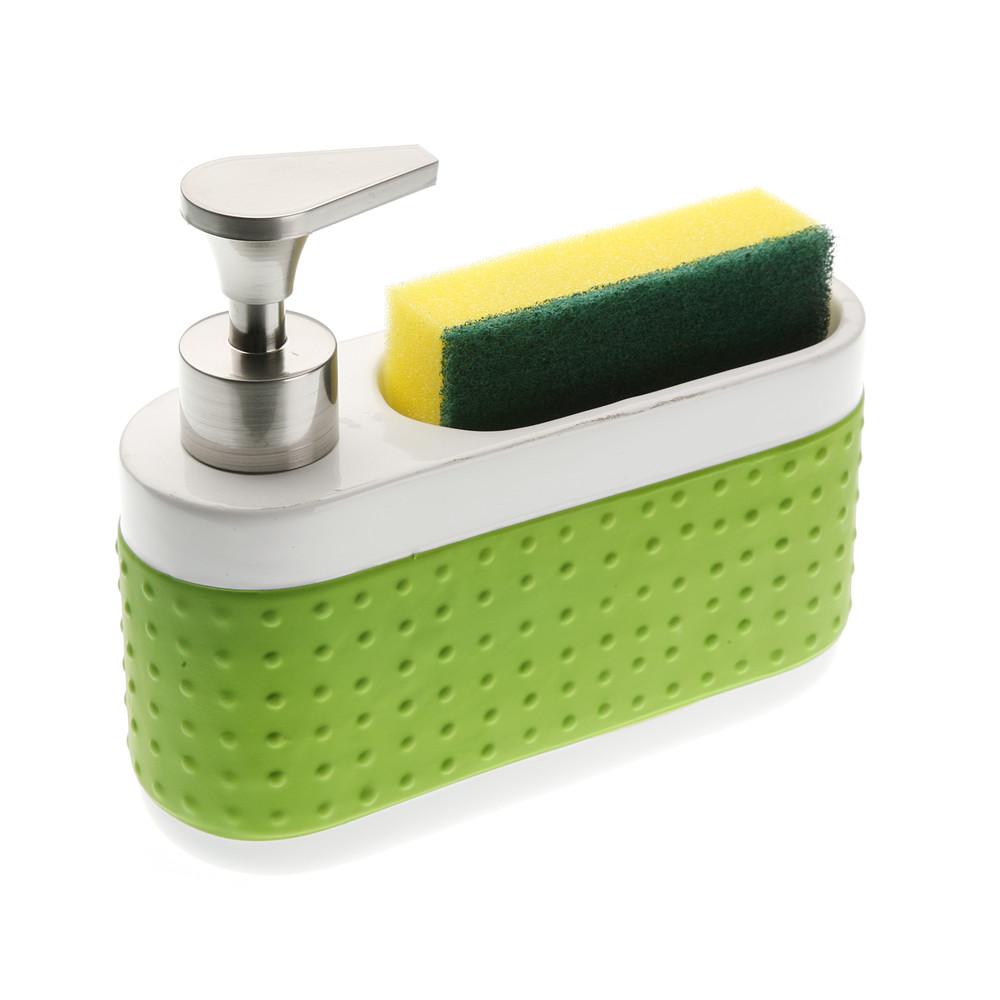 Bielo-zelený stojanček na čistiace prostriedky Versa Scourer