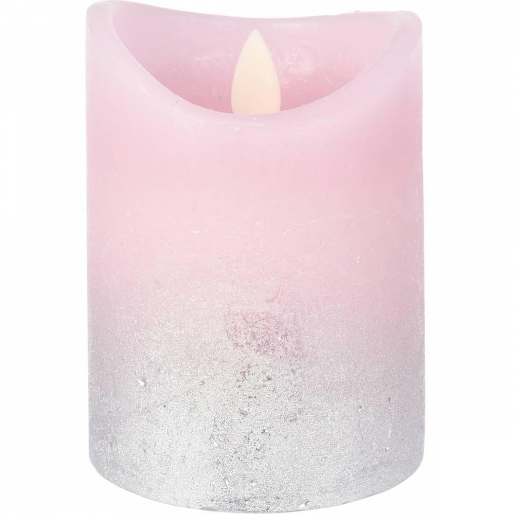 LED sviečka Swing flame ružová, 10 cm