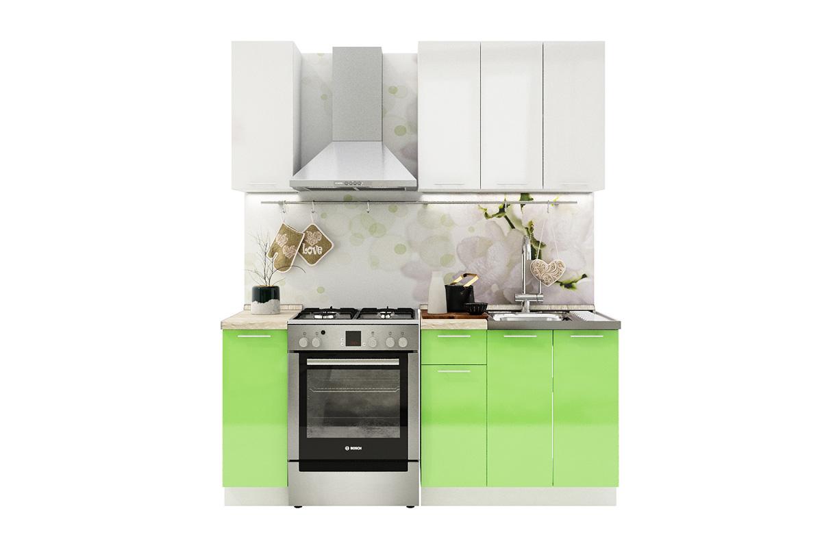 Kuchynská zostava VALENCIA 120 biely lesk/zelený lesk