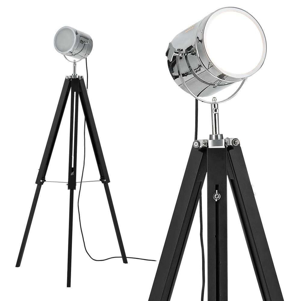 [lux.pro]® Elegantná stojaca lampa - Tripod 1 x E 27 - 60W - chrómová / čierna