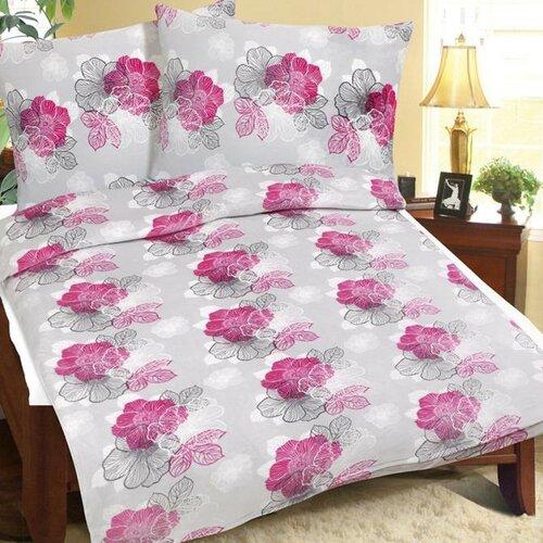 Bellatex Obliečky mikroflanel Sivo-ružový kvet, 140 x 220 cm, 70 x 90 cm