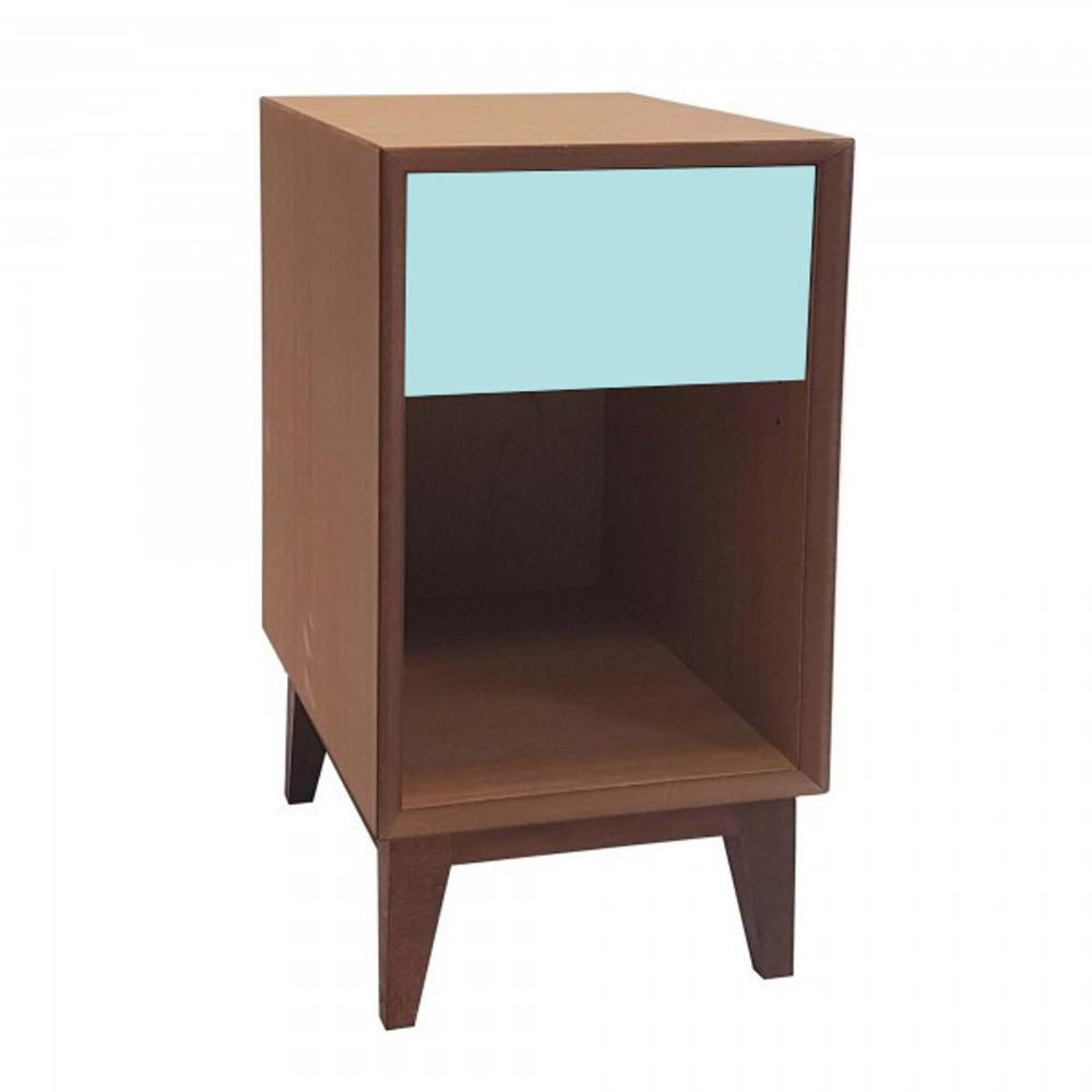 Veľký nočný stolík so svetlotyrkysovou zásuvkou Ragaba PIX