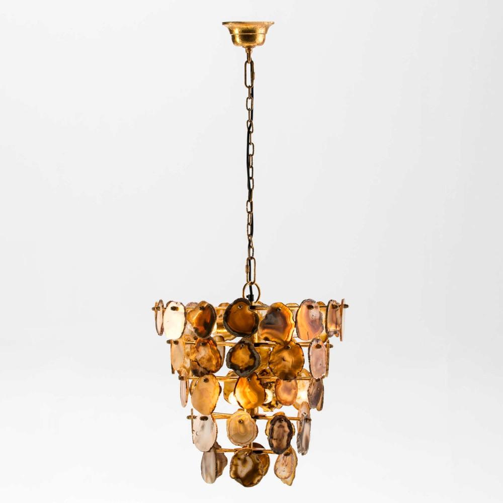 Závesné svietidlo z kovu zlatej farby a achátu Thai Natura Agate