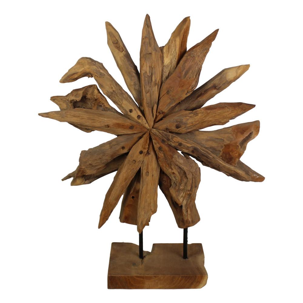 Dekorácia z teakového dreva HSM Collection Sunflower, 60 x 80cm