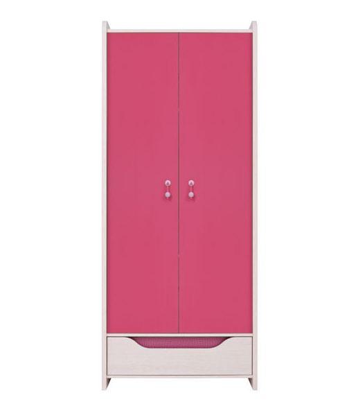 Šatníková skriňa Hihot SZF2D1S   Farba: dub jasný belluno/ ružová