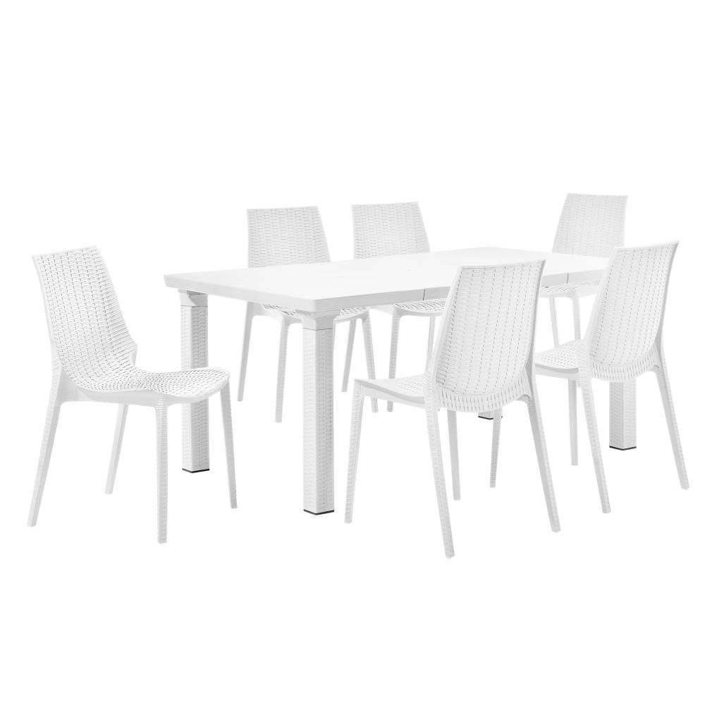 [casa.pro]® Zahradný stôl so 6 stoličkami - biely