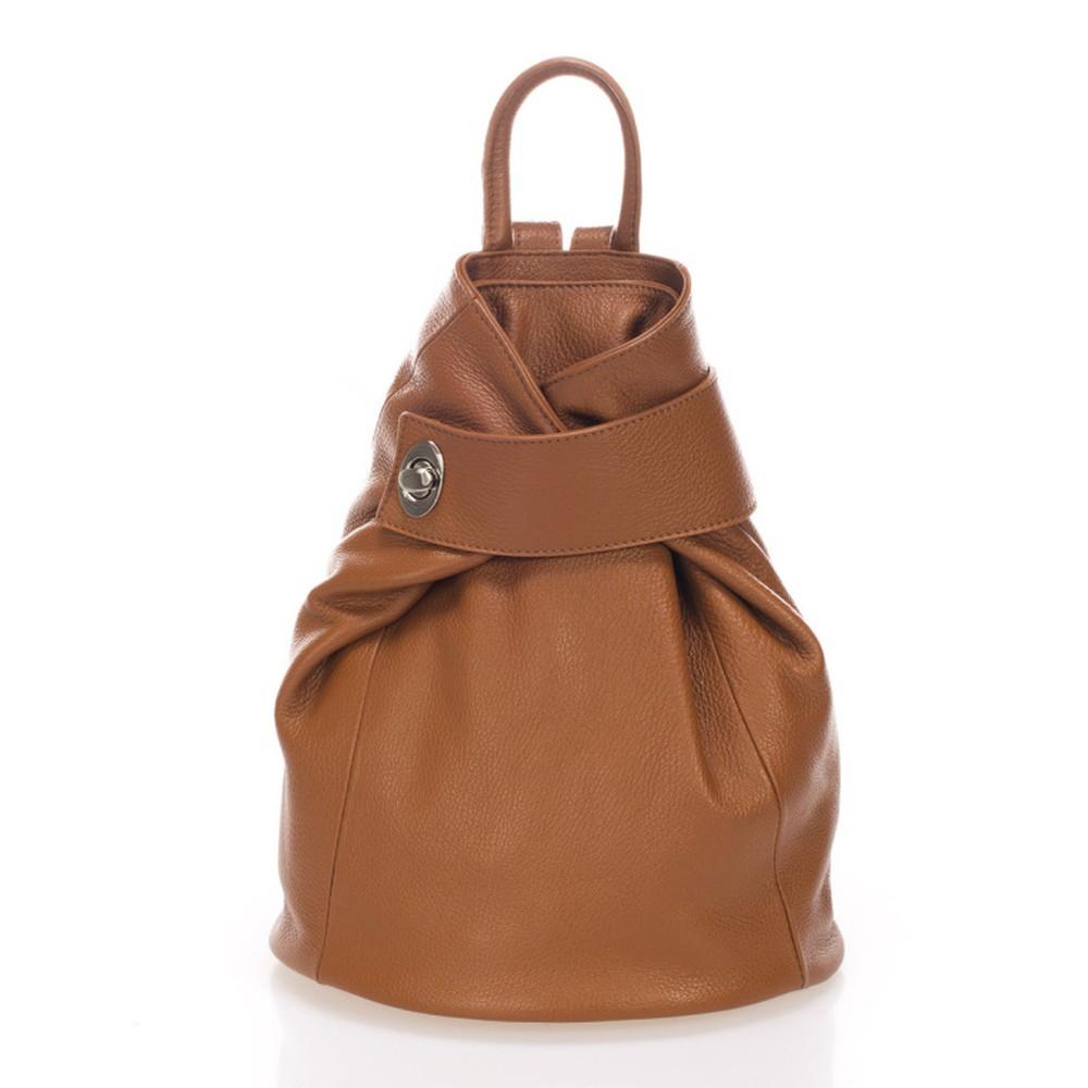 Koňakovohnedý kožený batoh Lisa Minardi Narni