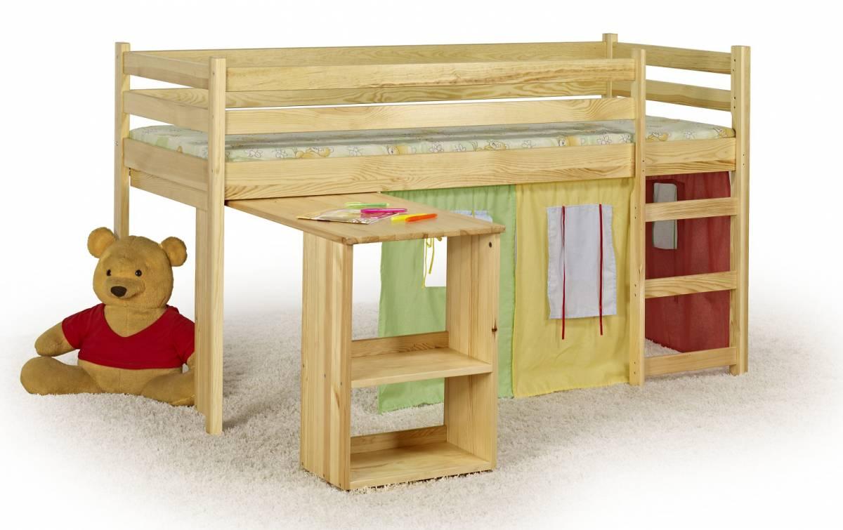 Poschodová posteľ 80 cm Emi Borovica (masív, s roštom a matracom)
