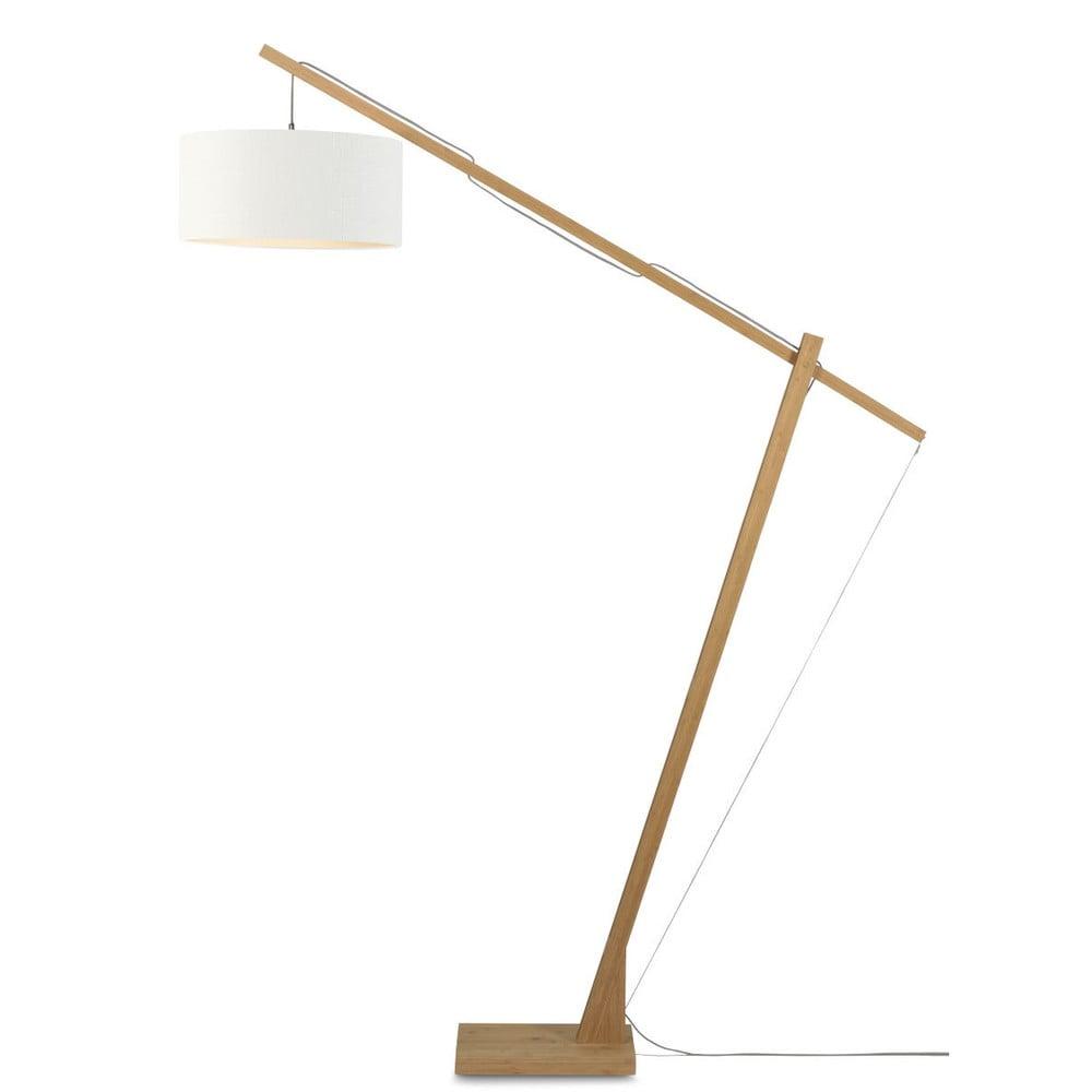 Stojacia lampa s bielym tienidlom a konštrukciou z bambusu Good&Mojo Montblanc