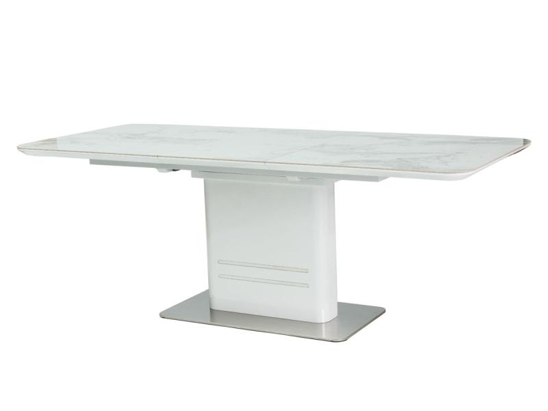 KARTIER KERAMIK jedálenský stôl, biely lesk/mramor