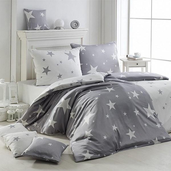 Matějovský Krepové obliečky New Star Grey, 140 x 200 cm, 70 x 90 cm