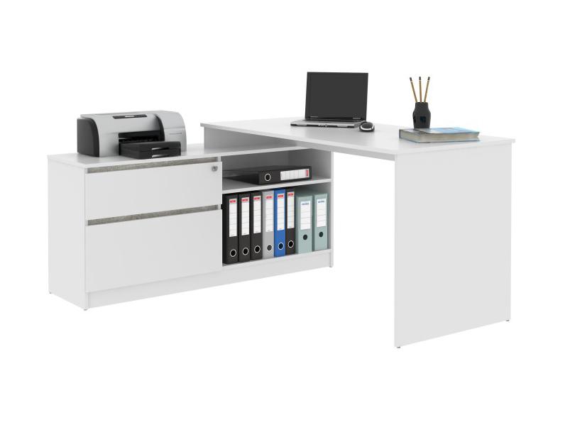 Rohový PC stolík Bentos (biela + beton)