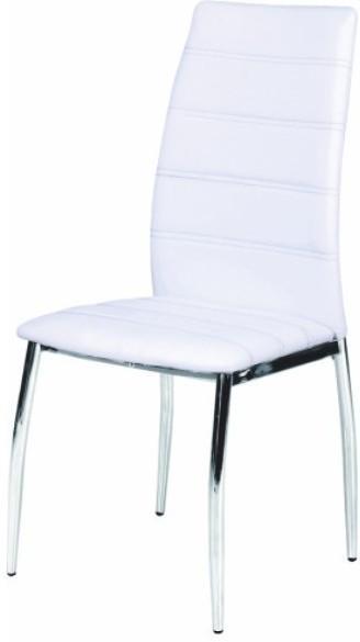 Stolička, ekokoža biela/chróm, DELA