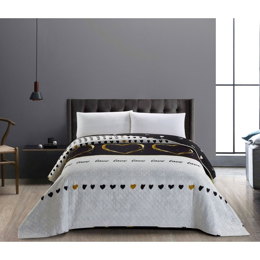 Obojstranná sivo-čierna prikrývka na dvojposteľ DecoKing Love, 240 x 260 cm