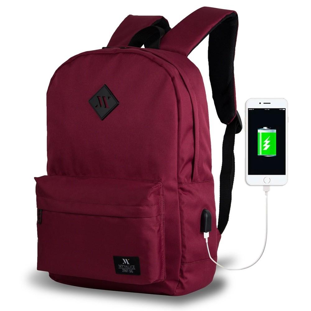 Tmavovínový batoh s USB portom My Valice SPECTA Smart Bag