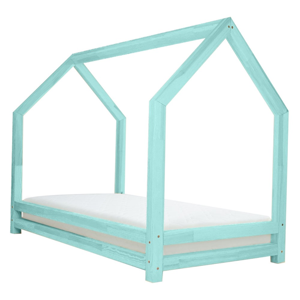Tyrkysová jednolôžková posteľ z borovicového dreva Benlemi Funny, 90 x 160 cm