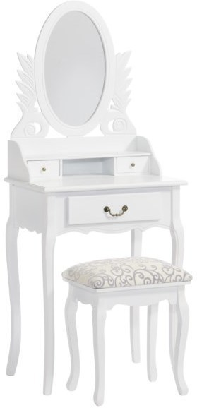 Toaletný stolík so zrkadlom a taburetkou MOLIS - biela