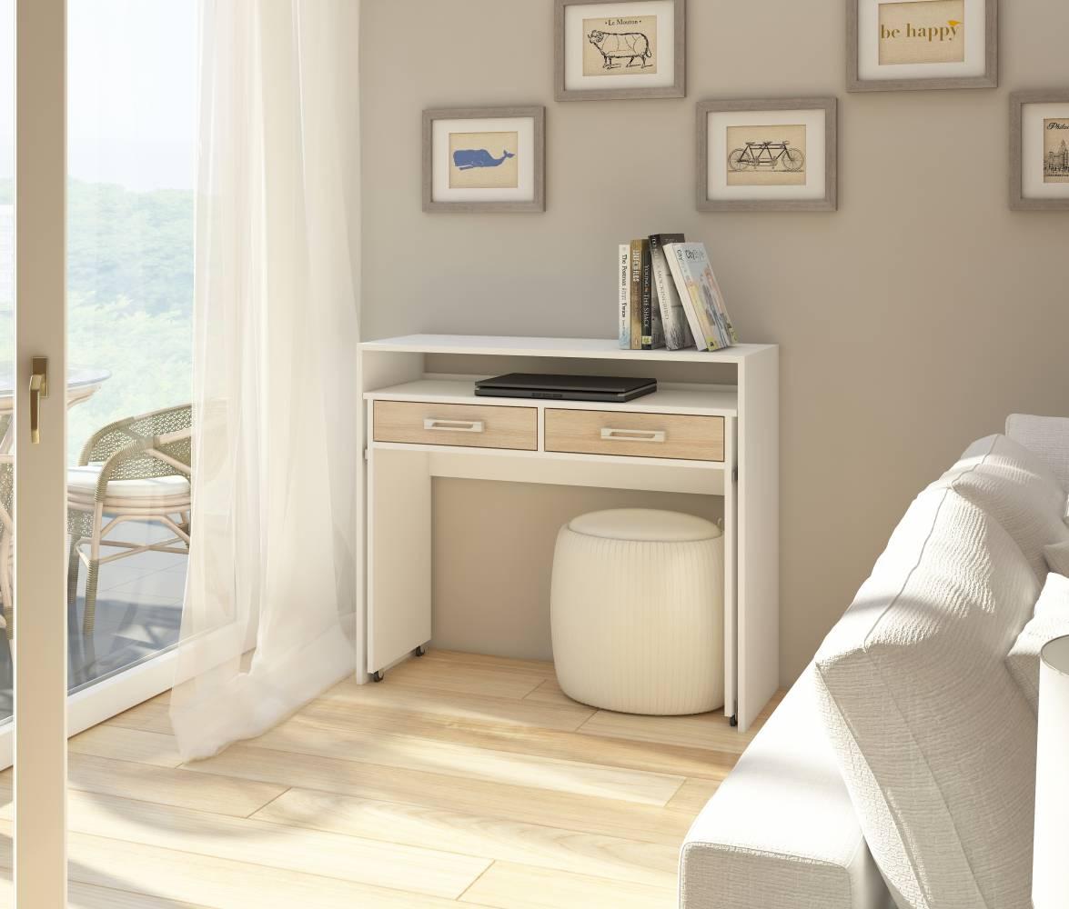 PC stolík Zoom biela + dub sonoma svetlý