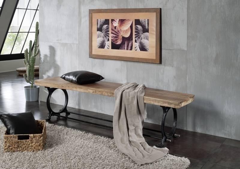 INDUSTRIAL lavica 180x40 #31, liatina a staré drevo