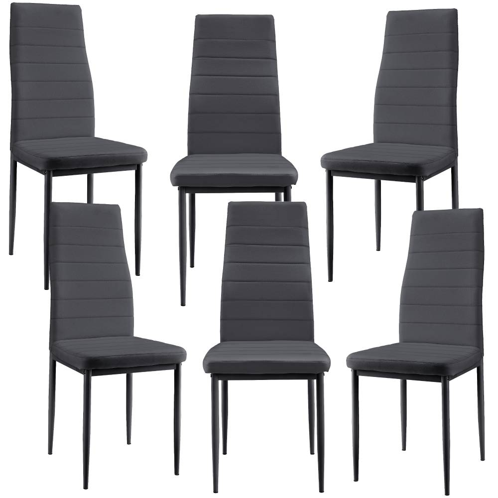 df38f7f99ce00 [en.casa]® Čalúnená koženková stolička - 6 kusová sada - tmavo sivá