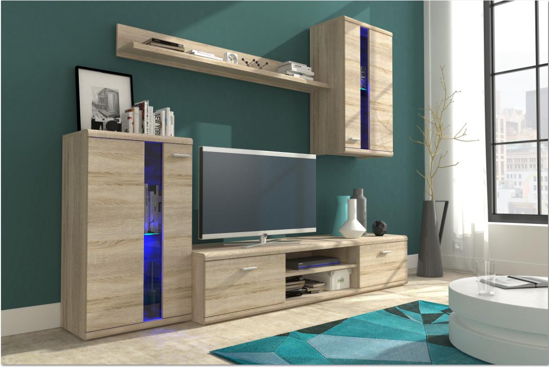 Moderná obývacia stena LIVE, dub sonoma
