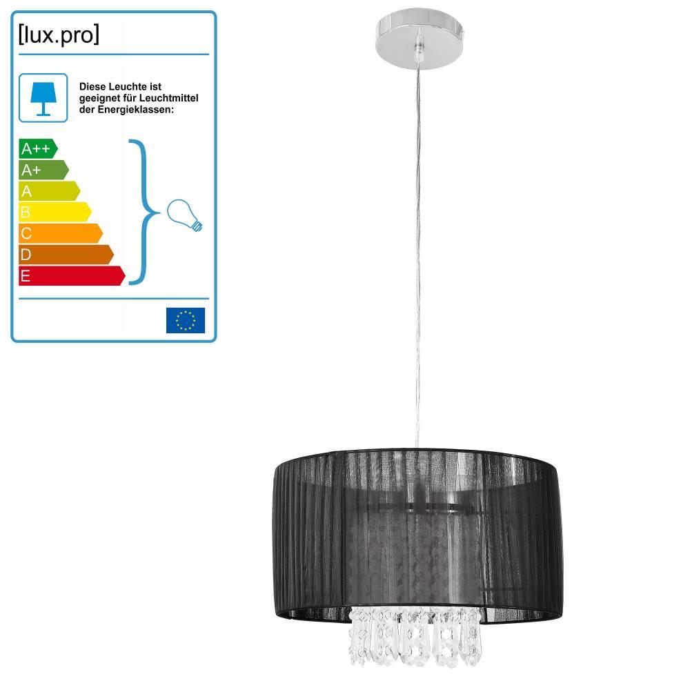 [lux.pro]® Dekoratívna dizajnová design závesná lampa / stropná lampa - čierna-chromová (1 x E27)