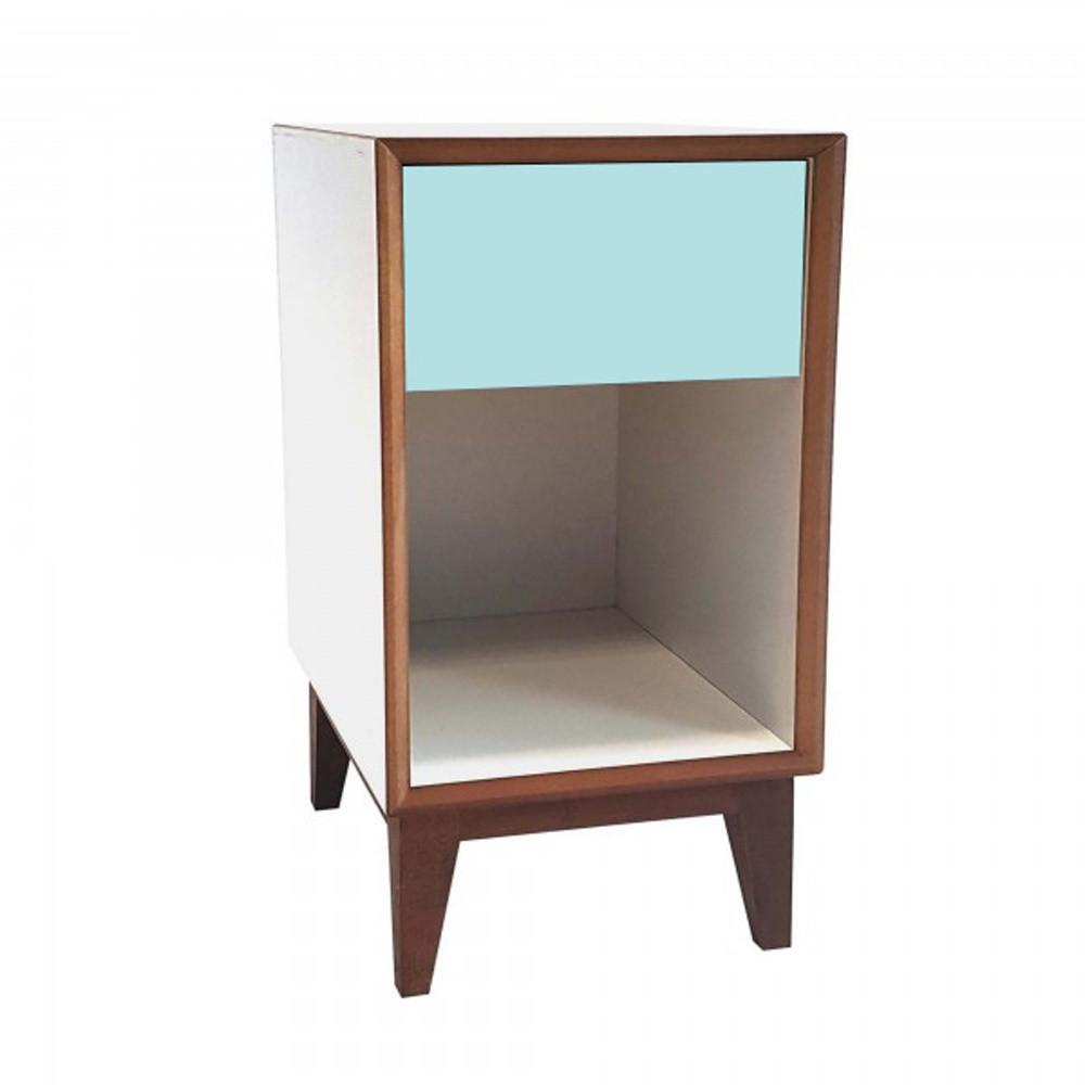 Veľký nočný stolík s bielym rámom a svetlotyrkysovou zásuvkou Ragaba PIX
