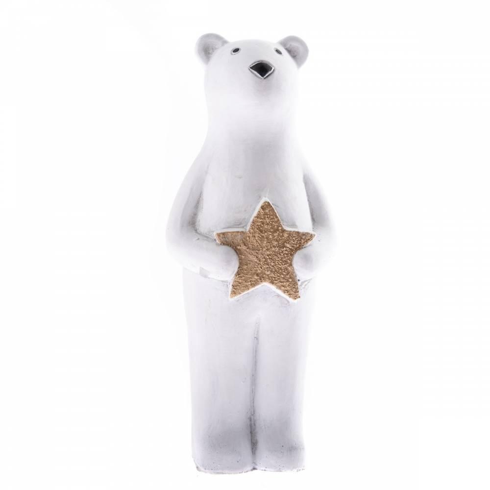 Betónový medveď s hviezdou, 20 cm