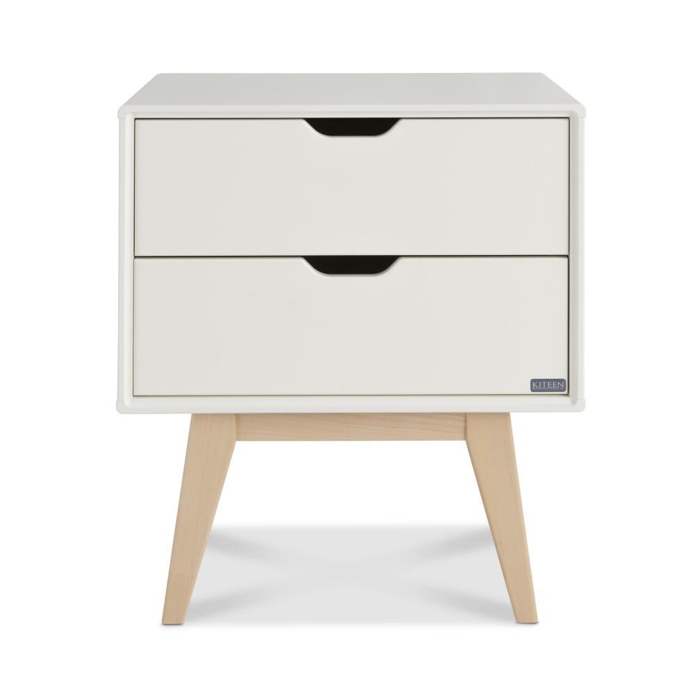 Biely ručne vyrobený nočný stolík s 2 zásuvkami z masívneho brezového dreva KiteenKolo