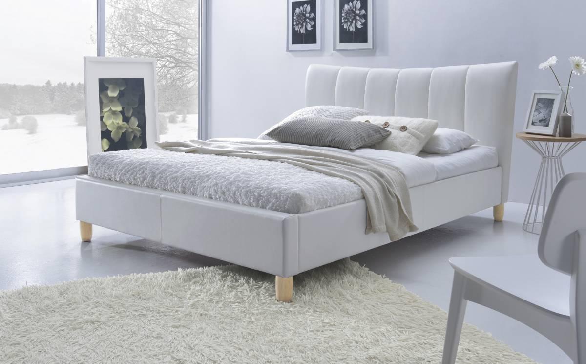 Manželská posteľ 160 cm Sandy (biela) (s roštom)