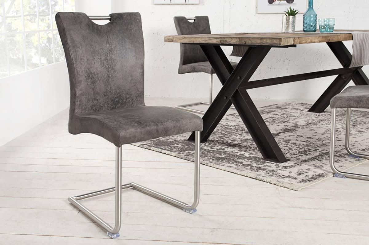 Stolička BOFFALO - vintage sivá