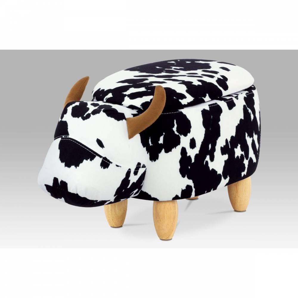 Taburet s úložným priestorom Krava, čiernobiela