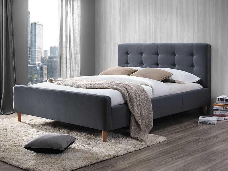 PINTO čalúnená posteľ, šedá