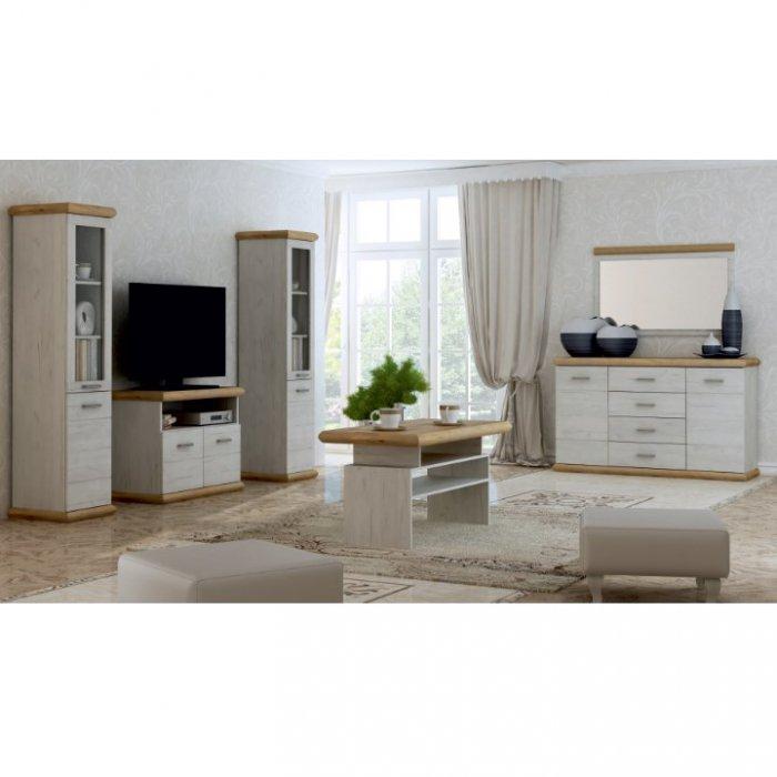TEMPO KONDELA KATY obývacia izba - dub biely / dub zlatý