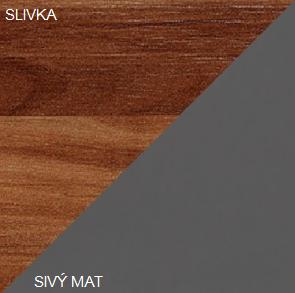 Šatníková skriňa MAMBA MAM 05   Farba: Slivka / sivý mat