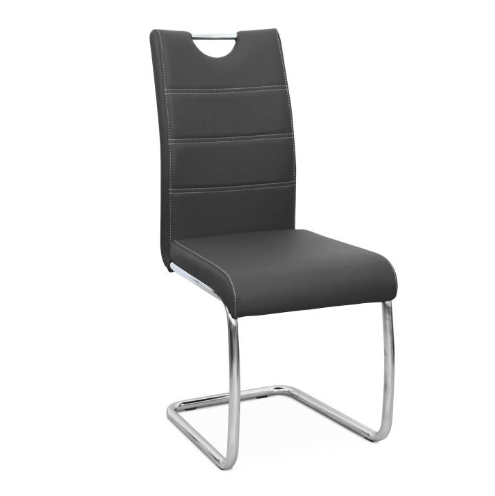 Jedálenská stolička Abira New (tmavosivá + chróm)