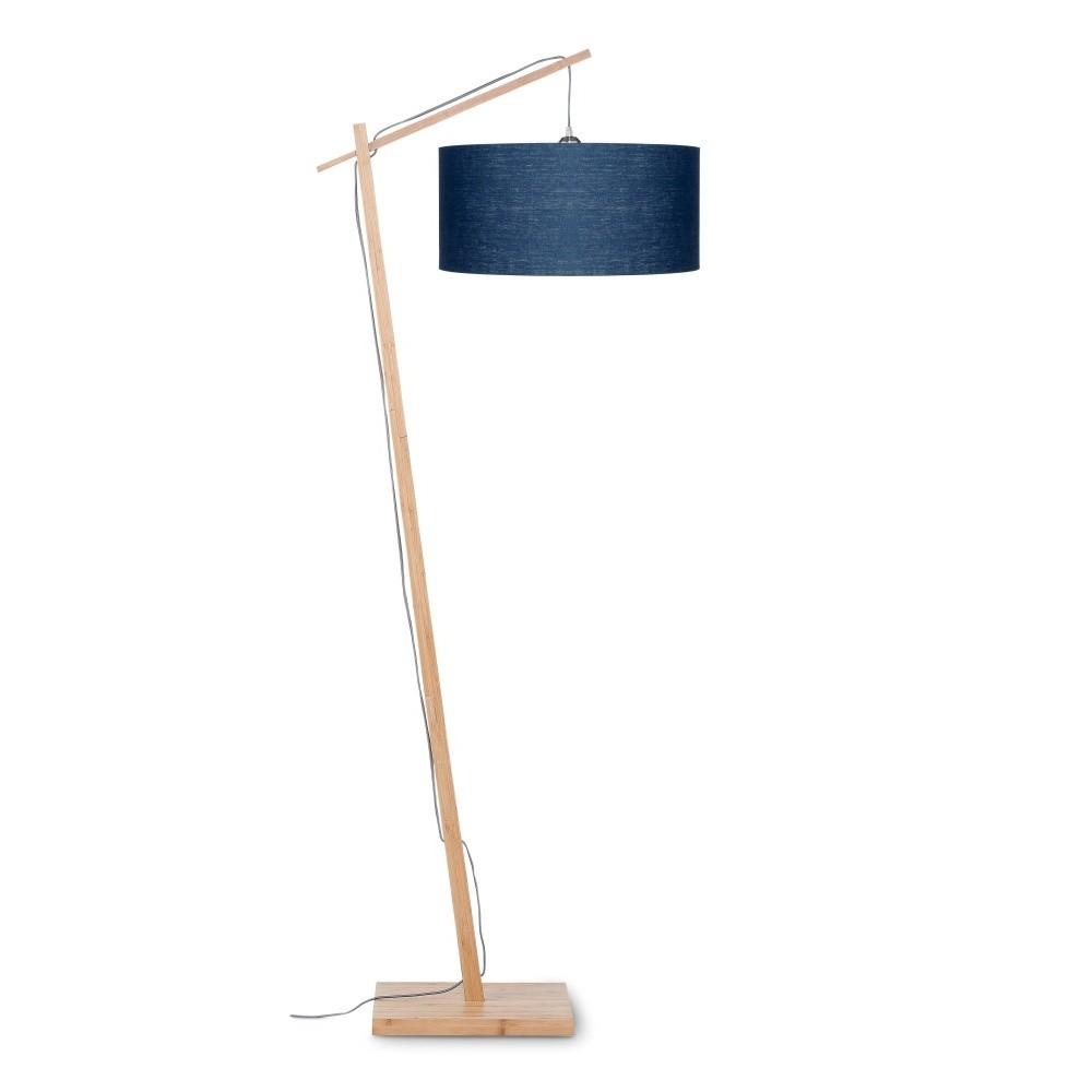 Stojacia lampa s modrým tienidlom a konštrukciou z bambusu Good&Mojo Andes