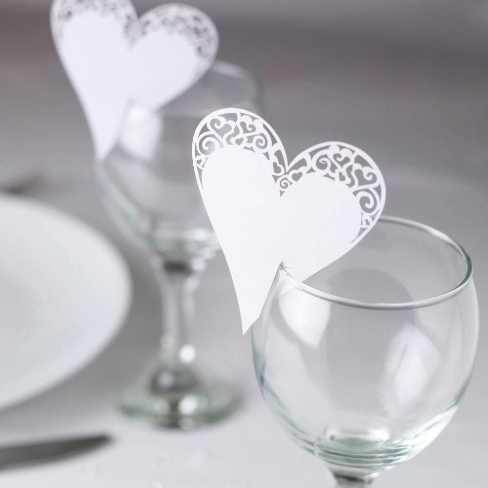 Sada 10 bielych menoviek na pohár Neviti Simply Love