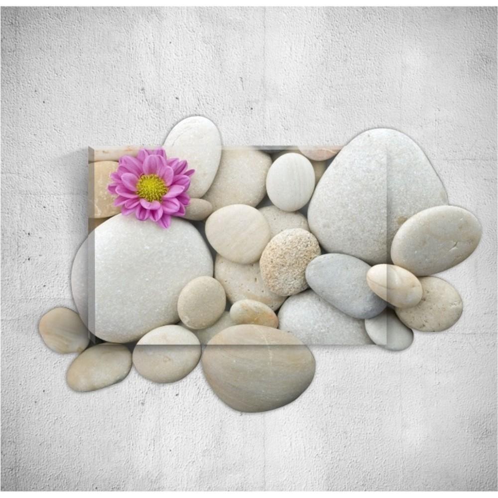 Nástenný 3D obraz Mosticx Pebbles With Flower, 40×60 cm