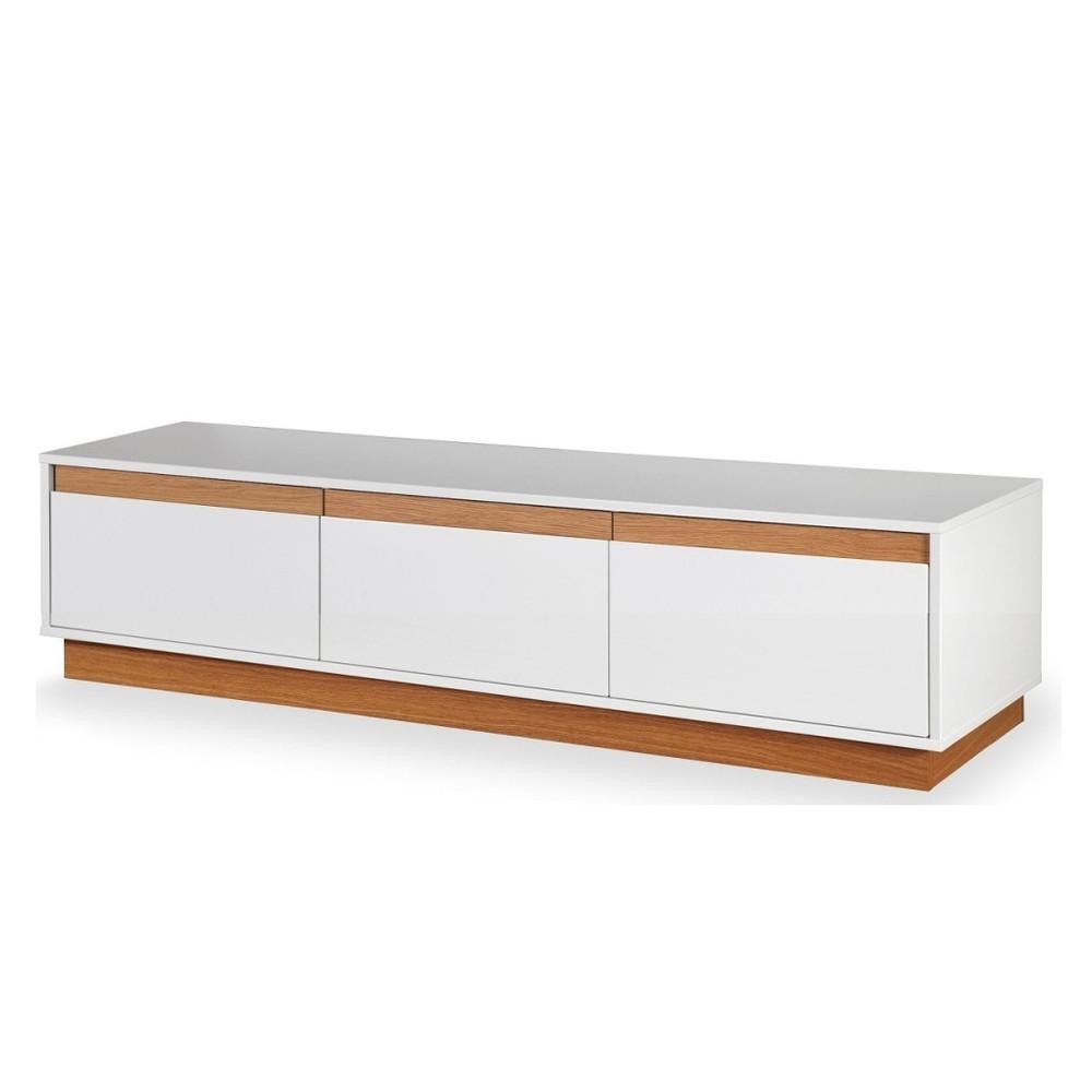 Biela TV komoda s podstavcom a drevenými detailmi Dřevotvar Ontur 02