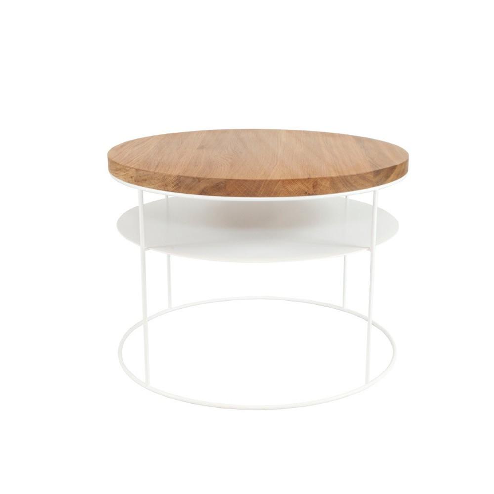 Biely konferenčný stolík s doskou z dubového dreva Take Me HOME Nysa, ⌀60cm