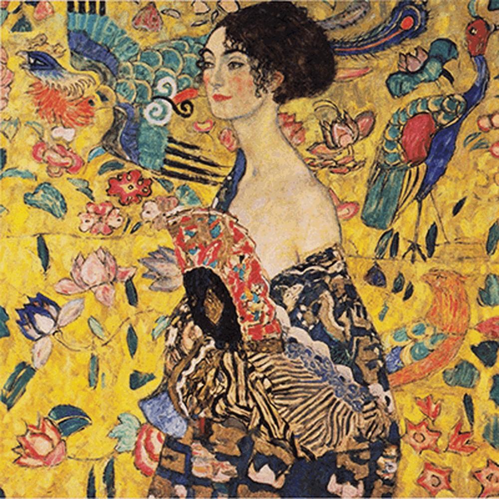 Obraz Gustav Klimt Lady With Fan, 70 x 70 cm