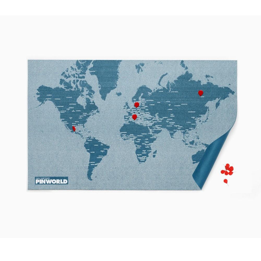Modrá nástenná mapa Palomar Pin World, 126 x 68cm