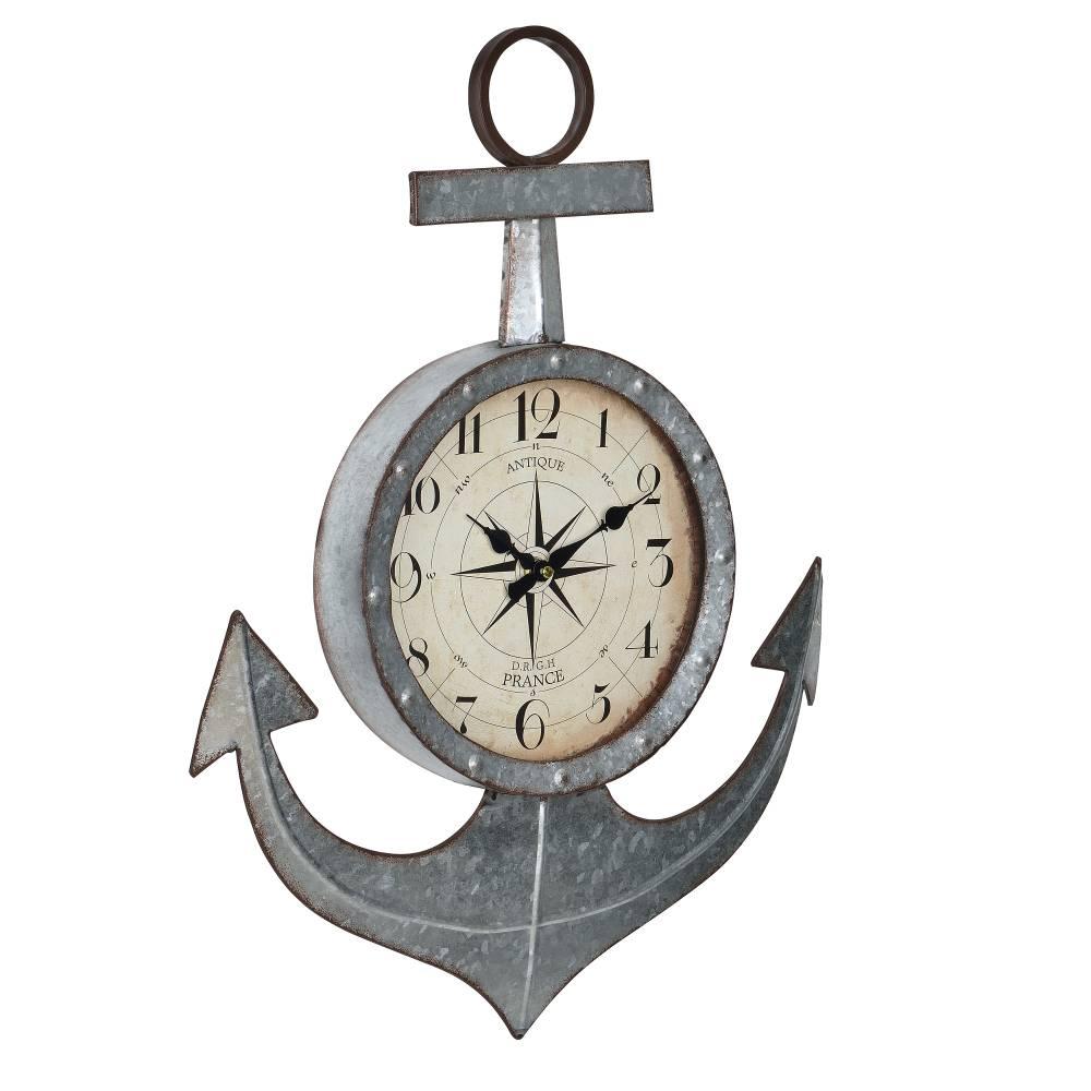 [en.casa]® Nástenné hodiny v tvare kotvy - analógové - 47 x 6 x 62 cm - farebné - sklo