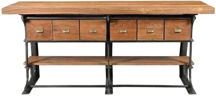 1920s ORIGINAL TV stolík  #104 teak, liatina