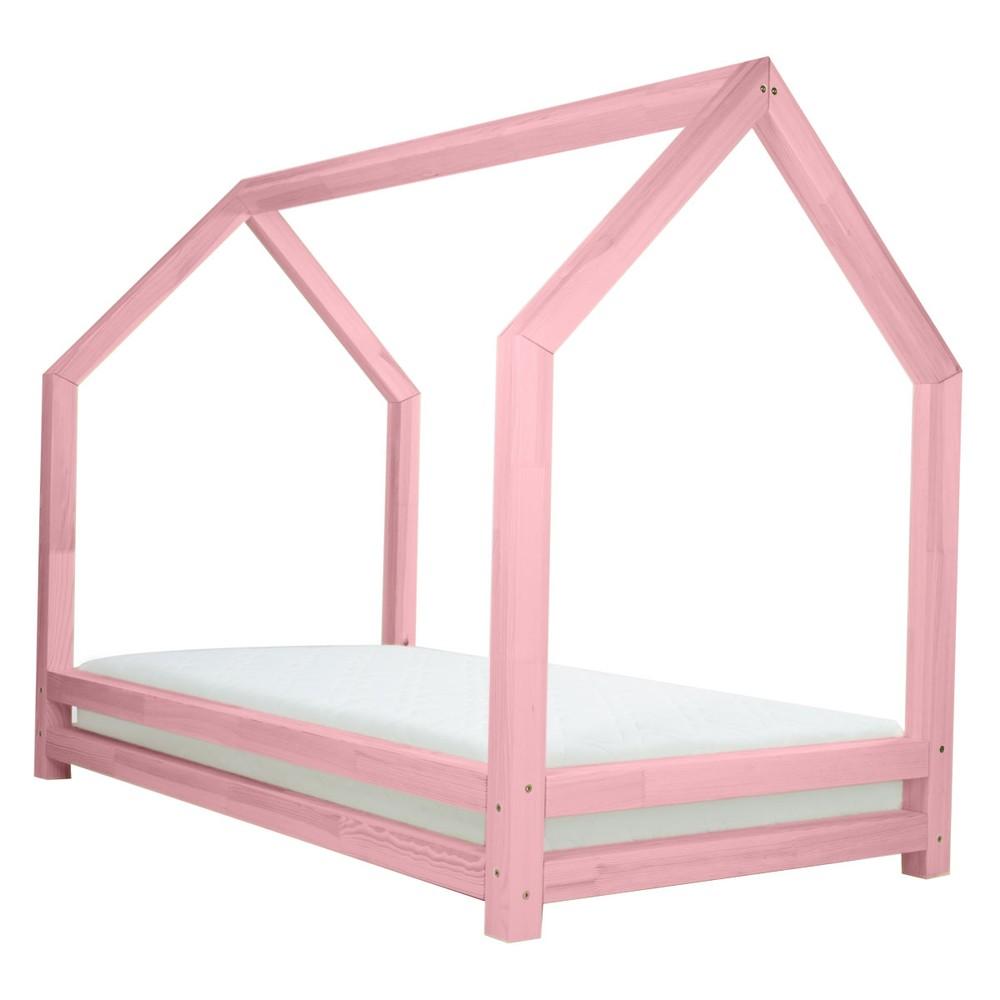 Ružová jednolôžková posteľ z borovicového dreva Benlemi Funny, 80 x 200 cm