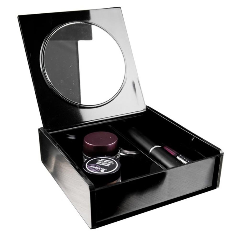 Čierny organizér na kozmetiku so zrkadielkom