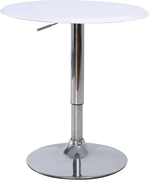 Barový stôl, s nastaviteľnou výškou, chróm/biela, BRANY
