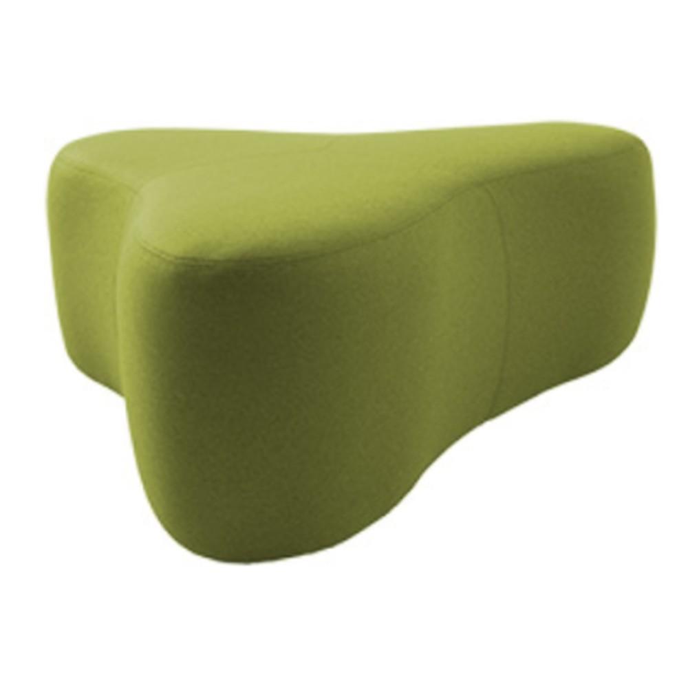 Zelený puf Softline Chat Felt Melange Lime, dĺžka 130 cm